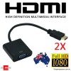 2X HDMI Male to VGA Female Video Adapter Cable Converter 1080P