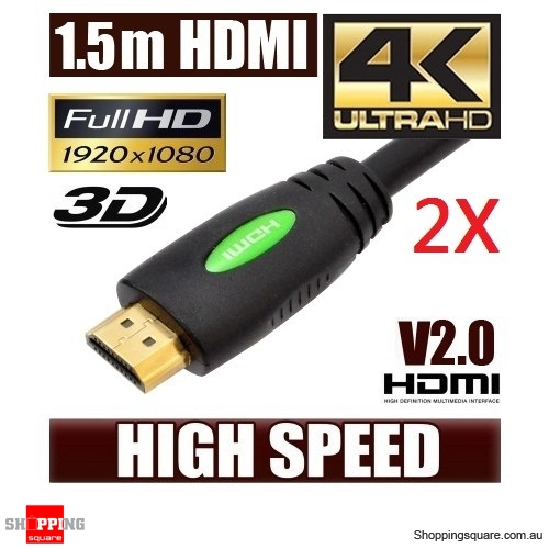 2X 1.5M HDMI Cable (V2.0), High Speed with Ethernet and 4K Ultra HD, 3D function Bundle