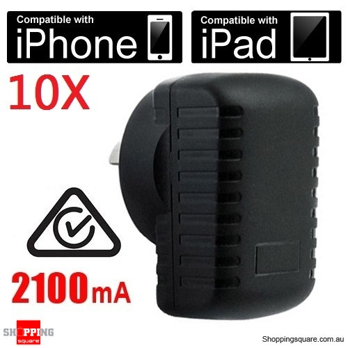 10X 2100mA 5V Micro AU Wall Adapter Apple iPad iPhone, iPod AC to USB Power Charger -SAA Approval