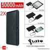 2X 50000mAh Universal Dual USB Port Power Bank Rechargeable Battery Black Colour