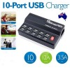 Multifunctional 10 USB Ports Smart Charger Station BLACK with SAA Power Cable