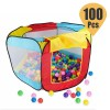 Kids 100 Pcs 7cm Ocean Balls with Indoor Outdoor Folding Play House Hut Hideaway Tent