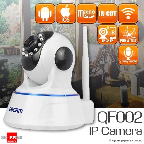 ESCAM QF002 720P WiFi CCTV Security IP Camera Supports IR Cut Night Vision Two Way Audio Pan Tilt