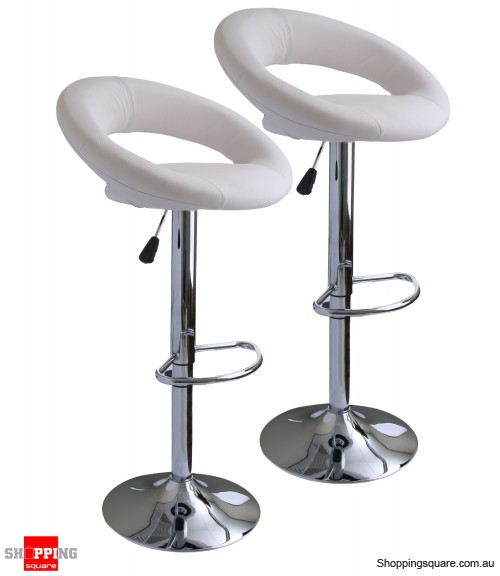 Exceptionnel 2 X Leather Bar Stool Kitchen Chairs   White