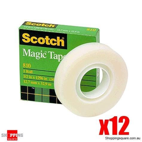 12x Scotch Magic 810 Invisible Tape 19mm x 33m