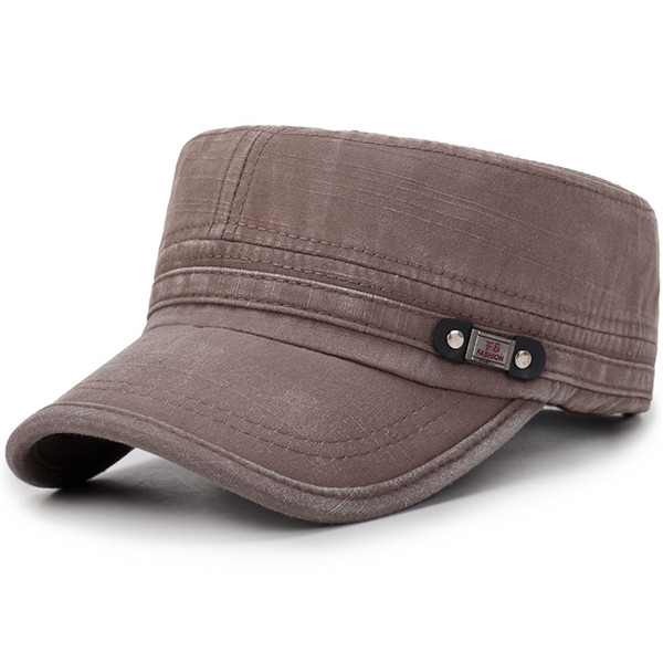 Mens Washed Cotton Flat Top Hat Sunscreen Military Army Peaked Cap Outdoor  - Army Green ac4bc5ca821