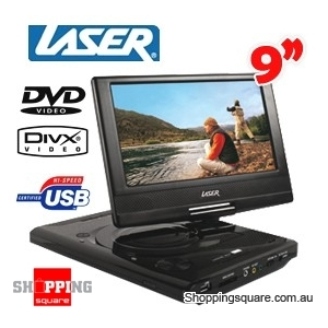 "Laser 9"" Portable DVD Player,Digital Tablet USB/SD Slot"