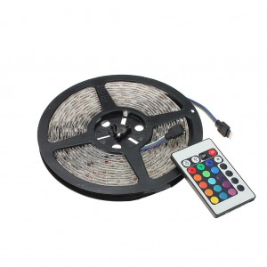 5M Waterproof RGB 300 LED Light Strip with 24 Keys Remote Control