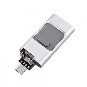 Muti-functional 32GB USB Flash Drive with Micro USB & Lightning Connectors - Silver