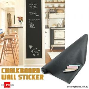17.7 x 78.7Inch Black Chalkboard Blackboard Wall Sticker for Home School Office with Chalks
