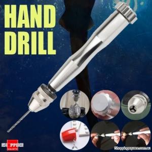 Mini Aluminum Jewelry Hand Manual Rotary Drill With Keyless Chuck and 10 Twist Drills Bits