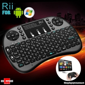 Rii i8+ Bluetooth Wireless Touchpad Keyboard with Backlight for PC/Mac/Android Black Colour