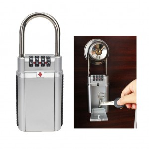 Key Storage Box Security Lock with 4 Digit Password Combination Silver Colour