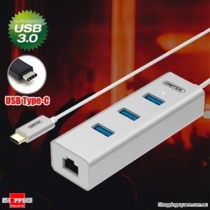 UNITEK Y-3189SL Type-C to Gigabit Ethernet Converter Hub with 3 USB 3.0 Ports