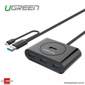 UGREEN 4 Ports USB 3.0 Hub Splitter with OTG Extension Adapter for PC Mac - Black