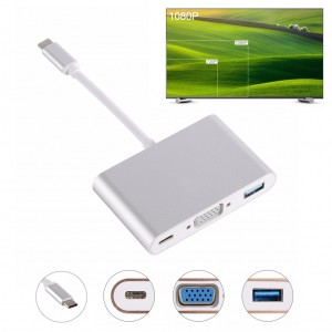 USB 3.1 Type C to VGA 1080P Video Adapter Silver Colour