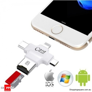 4 in 1 Micro SD Card Reader for iPhone/Android/Type C USB Device White Colour