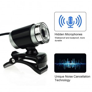 A860 Computer Camera USB 360° Rotatable PC Webcam with Built-in Microphone - Black