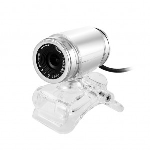 A860 Computer Camera USB 360° Rotatable PC Webcam with Built-in Microphone - White