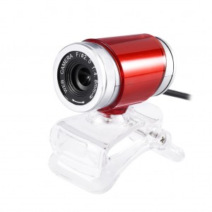A860 Computer Camera USB 360° Rotatable PC Webcam with Built-in Microphone - Red