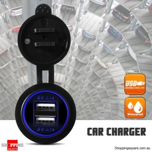 5V 4.2A Dual USB Socket Plug Adapter Power Outlet Charger for 12V 24V Motorcycle Car Blue Colour
