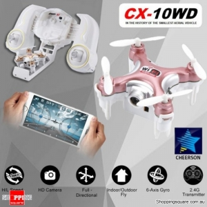 Cheerson CX-10WD WiFi Mini RC Quadcopter RTF 0.3MP Camera Wi-Fi FPV Rose Gold Colour
