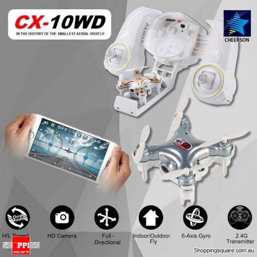 Cheerson CX-10WD WiFi Mini RC Quadcopter RTF 0.3MP Camera Wi-Fi FPV Silver Colour
