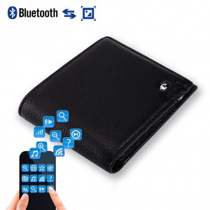 Two-Way Anti Lost Bluetooth Smart Wallet for Men - Black Colour