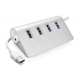 USB 3.0 4-Port Aluminum Alloy High Speed Hub for PC Mac