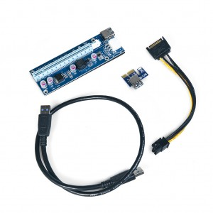 PCI-E 1X to 16X Riser Card Adapter with USB3.0 Cable & Power Cable for Bitcoin Mining