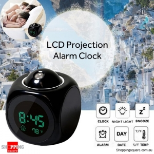 Digital LCD Projection Alarm Clock with Temperature Time Display Black Colour