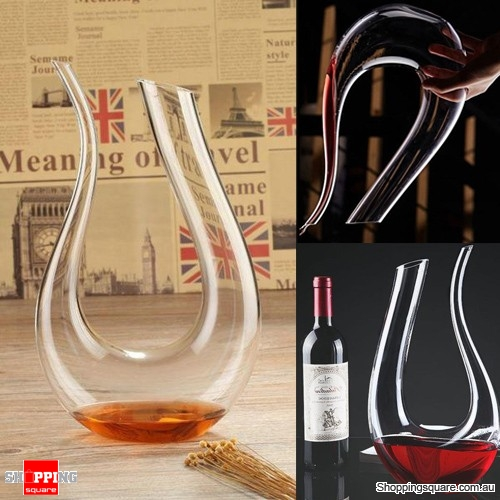 1.5L Luxurious U-shaped Horn Crystal Transparent Clear Glass Wine Decanter