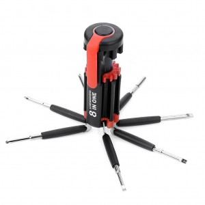 8 in 1 Multifunctional Flexible Slotted Phillips Screwdriver Tool Set with 6-LED Torch