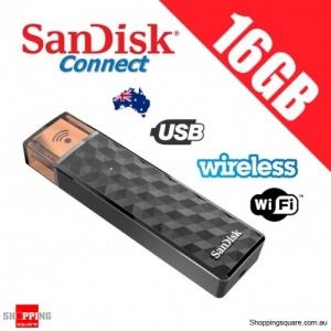 SanDisk Connect 16GB Wireless Stick USB + WiFi Memory Flash Drive Black