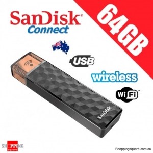 SanDisk Connect 64GB Wireless Stick USB + WiFi Memory Flash Drive Black