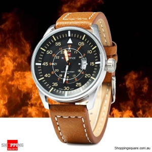 MEN's Naviforce Waterproof Quartz Watch with Leather Strap Chrome and Brown Colour