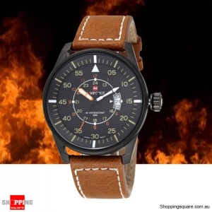 MEN's Naviforce Waterproof Quartz Watch with Leather Strap Brown and Black Colour