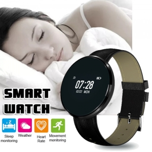 Multifunctional Smart Watch Black Leather Band Heart Rate Blood Pressure Oxygen Monitoring - BLACK & LEATHER