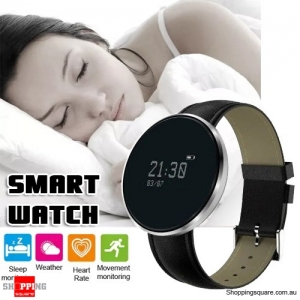 Multifunctional Smart Watch Silver Leather Band Heart Rate Blood Pressure Oxygen Monitoring - SILVER & LEATHER