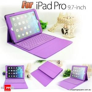 PU Leather Wireless Bluetooth Keyboard Case Stand Cover for Apple iPad Pro 9.7 Inch Purple Colour
