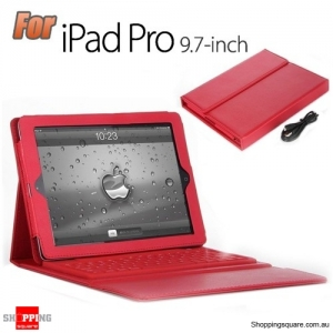 PU Leather Wireless Bluetooth Keyboard Case Stand Cover for Apple iPad Pro 9.7 Inch Red Colour
