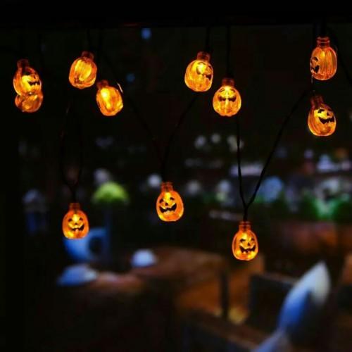 3m 30led solar powered pumpkin strip lights for halloween decoration