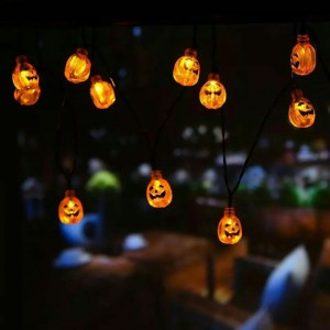 3M 30-LED Solar Powered Pumpkin Strip Lights for Halloween Decoration