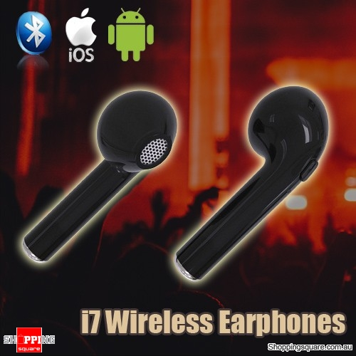 HBQ I7 Wireless Bluetooth TWS Twins True Mini Stereo Earphones Headset for iPhone Android Black Colour