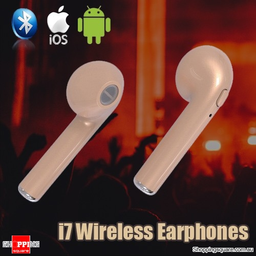 7acef9df482 HBQ I7 Wireless Bluetooth TWS Twins True Mini Stereo Earphones Headset for  iPhone Android Gold Colour - Online Shopping @ Shopping Square.COM.