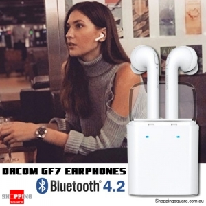 Dacom GF7 TWS Bluetooth V4.2 Voice Prompt Stereo Dual Earphone w/Charger Storage Box White Colour