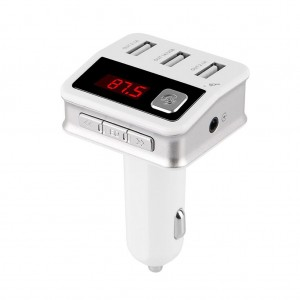Multifunctional Bluetooth FM Transmitter MP3 Player 3 USB Ports Car Charger - White