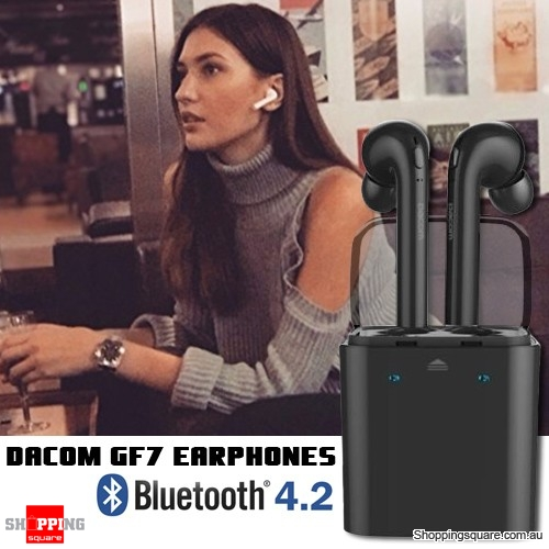 Dacom GF7 TWS Bluetooth V4.2 Voice Prompt Stereo Dual Earphone w/Charger Storage Box Black Colour
