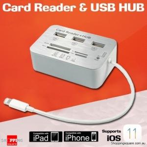 7 in 1 Card Reader Camera Connection Kit for Apple iPad Air 2 iPhone 6S 7 8 Plus X SD MicroSD USB HUB iOS 11