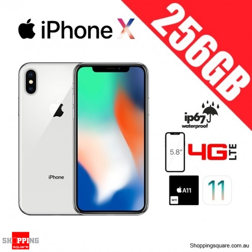 Apple iPhone X 256GB 4G LTE Unlocked Smart Phone Silver - Manufacturer Refurbished